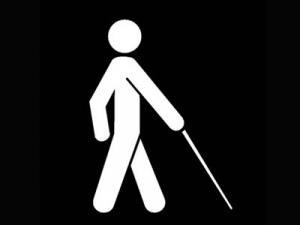 logo tunanetra membawa tongkat