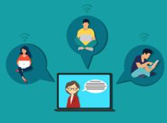 animasi yang menggambarkan pembelajaran online dengan komputer