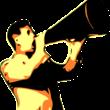 seorang laki-laki sedang menggunakan toa pengeras suara
